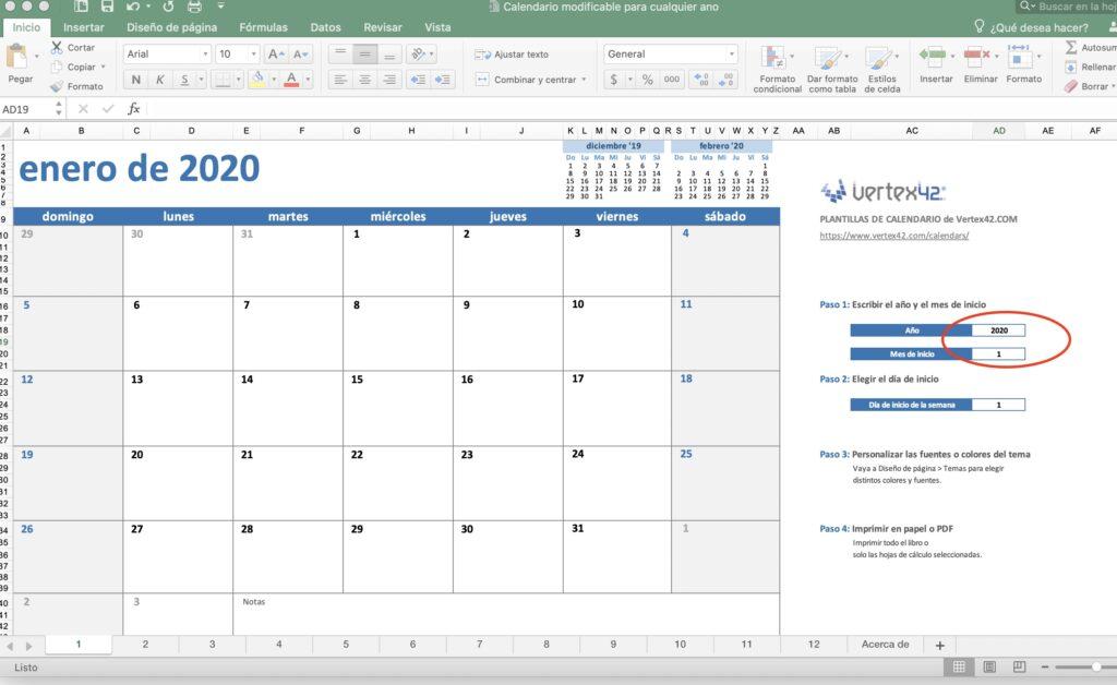 CALENDARIO 2020 EXCEL