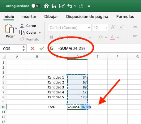 como sumar en excel con la función suma