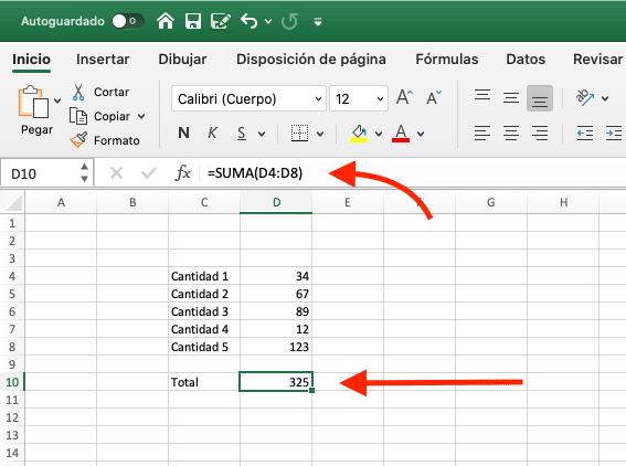 resultado de la suma con la función