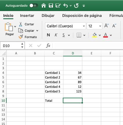sumando utilizando el simbolo + en excel.