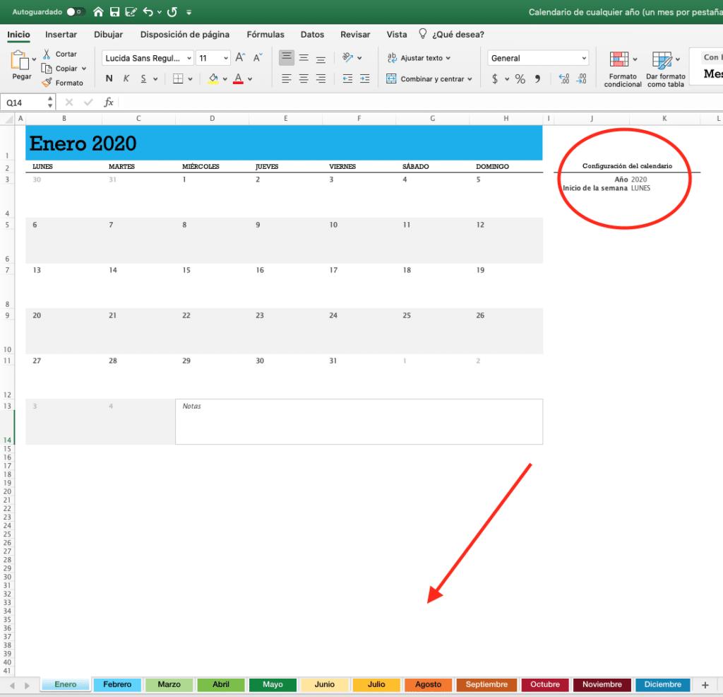 calendario 2020 vista por mes personalizable a cualquier año