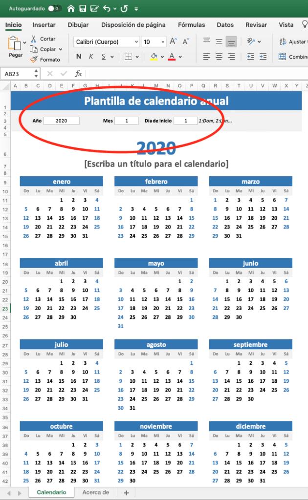 calendario 2020 vista de 12 meses