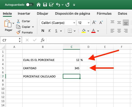 como calcular porcentaje en Excel