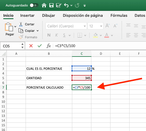 calculando porcentaje excel paso 2