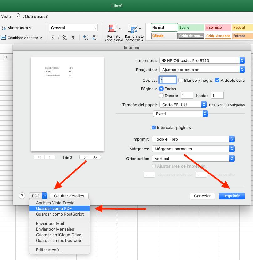 convertir a PDF desde la opción Imprimir
