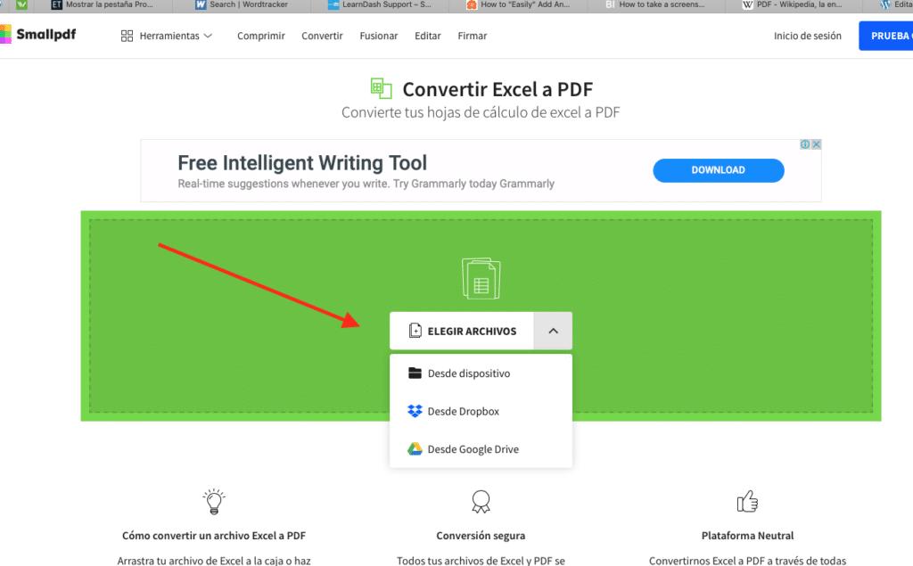 cambio de archivo de excel a PDF